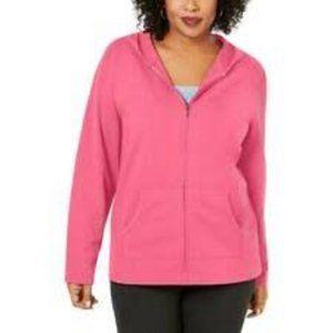 Karen Scott Sport Peony Coral Hoodie Jacket